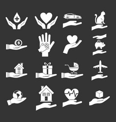 hand protect icon set grey vector image