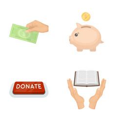 Hand with money for poshestvovaniya a piggy bank vector