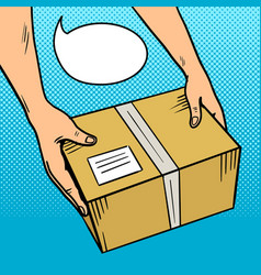 Hands give package in box pop art vector