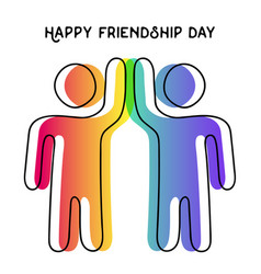 Happy friendship day card of friend high five vector