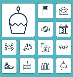 Happy icons set with sled pizza slice vector