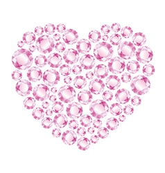 Heart of pink shiny diamonds vector