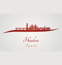 huelva skyline in red vector image