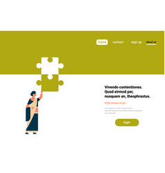 Indian woman putting parts of puzzle together vector