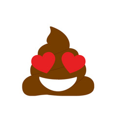 Isolated brown dung with kissing eyes face icon vector