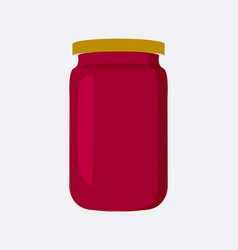Jar with strawberry jam poster vector