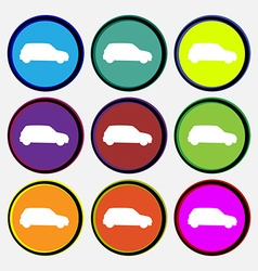 Jeep icon sign nine multi colored round buttons vector