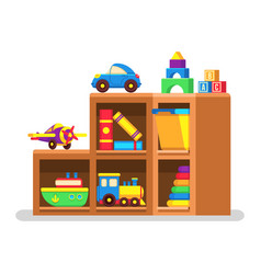 kids toys on wood rack vector image