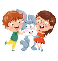 kids with rabbit vector image