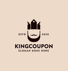 king crown coupon logo icon template vector image