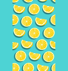 lemon fruits slice seamless pattern on green blue vector image