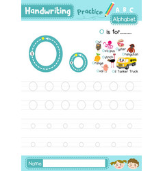 Letter o uppercase and lowercase tracing practice vector