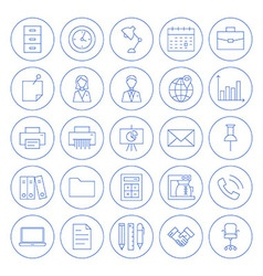 Line Circle Business Office Icons Set vector image vector image