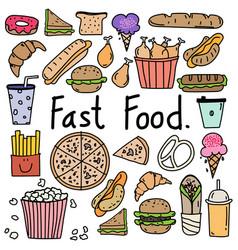 line hand drawn doodle fast food set vector image