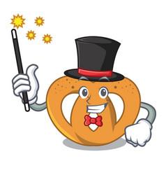 Magician pretzel mascot cartoon style vector