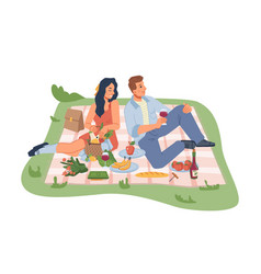 Man and woman picnic on nature blanket with food vector