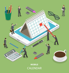 Mobile calendar flat isometric concept vector