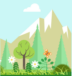 Mountain nature beauty in spring or summer time vector