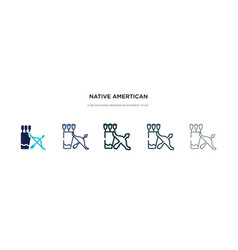 Native amertican arrows and quiver icon in vector