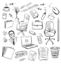 Office equipment isometric Set of icon vector