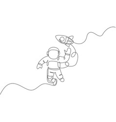 One continuous line drawing waving hand vector