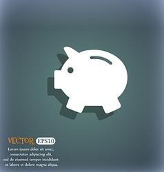 Piggy bank - saving money icon On the blue-green vector image