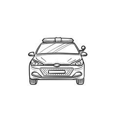 Police car hand drawn outline doodle icon vector