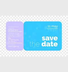save date wedding card ticket vector image
