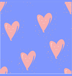 seamless pattern with hearts on blue hand drawn vector image