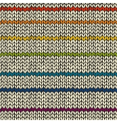 Seamless pattern with rainbow knitted stripes vector