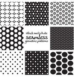 set black and white seamless geometric vector image