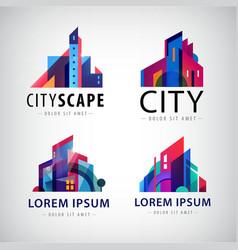 Set city scape building property logos vector