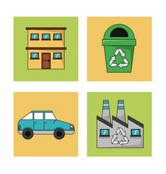 Set ecology environment recycle conservation vector