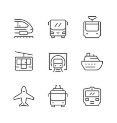 set line icons of public transport vector image
