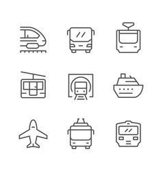 set line icons public transport vector image