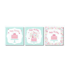 set of 3 ready-to-use birthday cards vector image