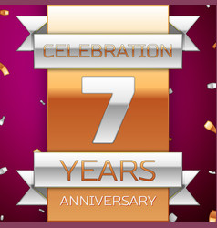 Seven years anniversary celebration design vector