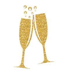 shiny glitter champagne glasses eps10 vector image