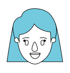 silhouette cartoon front view face closeup woman vector image