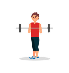 smiling guy doing exercise with barbell active vector image