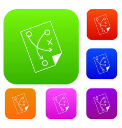 soccer strategy set color collection vector image