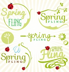 Spring Fling Typography Elements in Vintage Style vector image