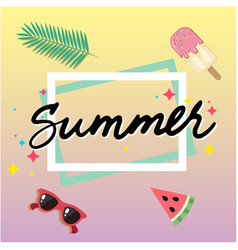 Summer ice cream watermelon sun glasses square fra vector
