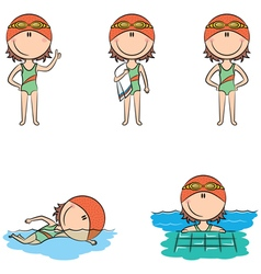 swimmer girls vector image