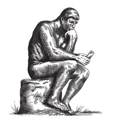 thinker with a smartphone vector image