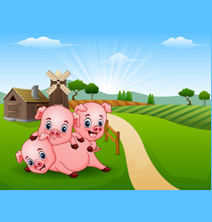 Three little pig playing in the morning vector