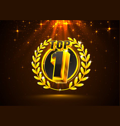 Top 1 best podium award sign golden object vector