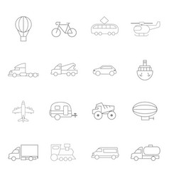 transportation icons in lines style on a white vector image