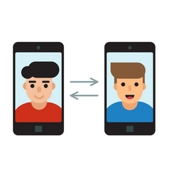 Two men communicate with mobile phones vector