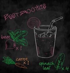 Vegetables smoothie with ingredients list Beet vector
